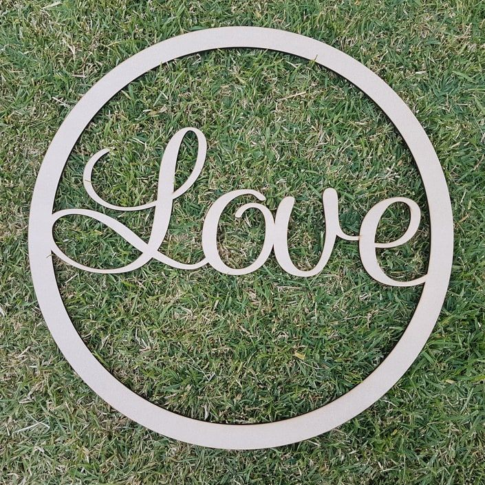 """Love"" large wooden sign - Curly Font"