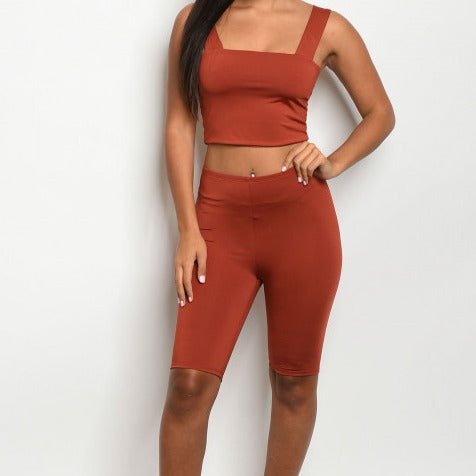 LESLIE CROP TOP AND BIKER SHORT SET