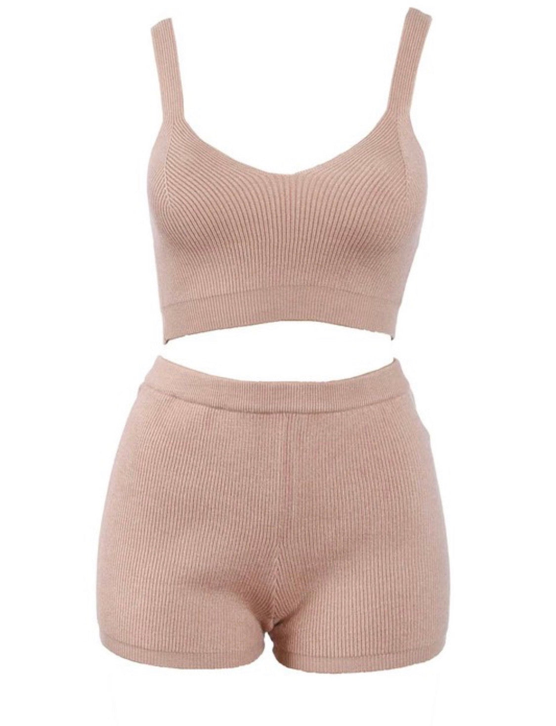 Taupe  crop top and  high waist shorts cozy lounge set with thin straps. Item is very stretchy and comfortable.   This two piece set is made of  30%Viscose 20%Acrylic 50% Nylon