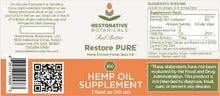 Load image into Gallery viewer, Best Restore PURE Hemp Oil Supplement - Green Door CBD
