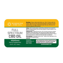 Load image into Gallery viewer, Sunshine Full Spectrum CBD Tincture - Green Door CBD