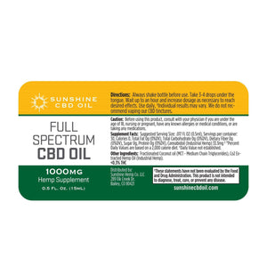 Sunshine Full Spectrum CBD Tincture - Green Door CBD
