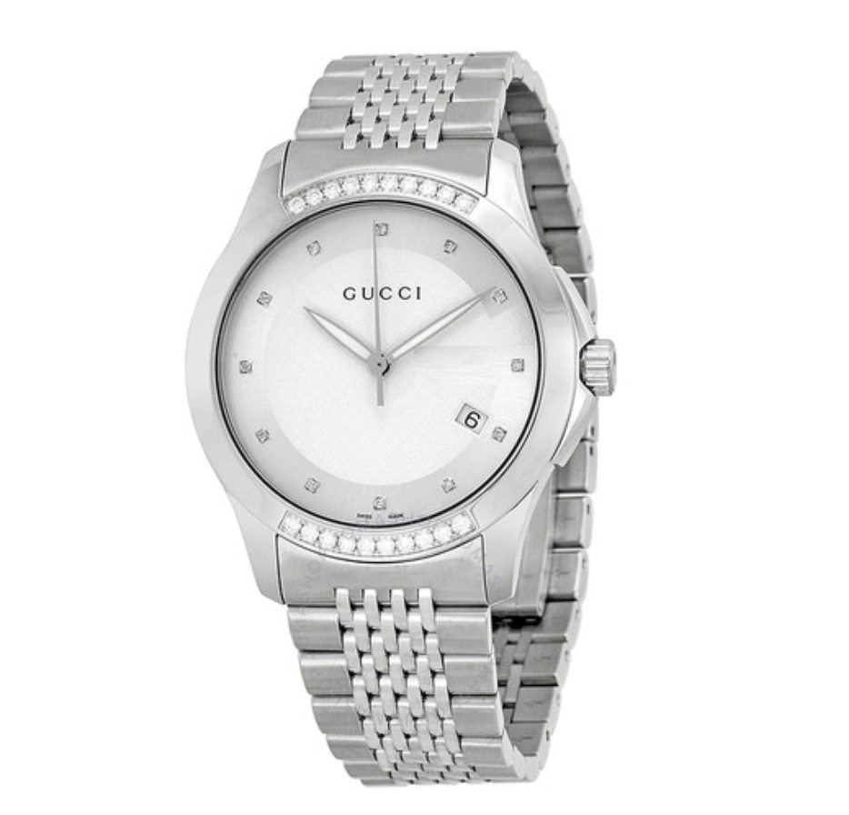GUCCI G Timeless Silver Dial Diamond Men's Watch YA126407