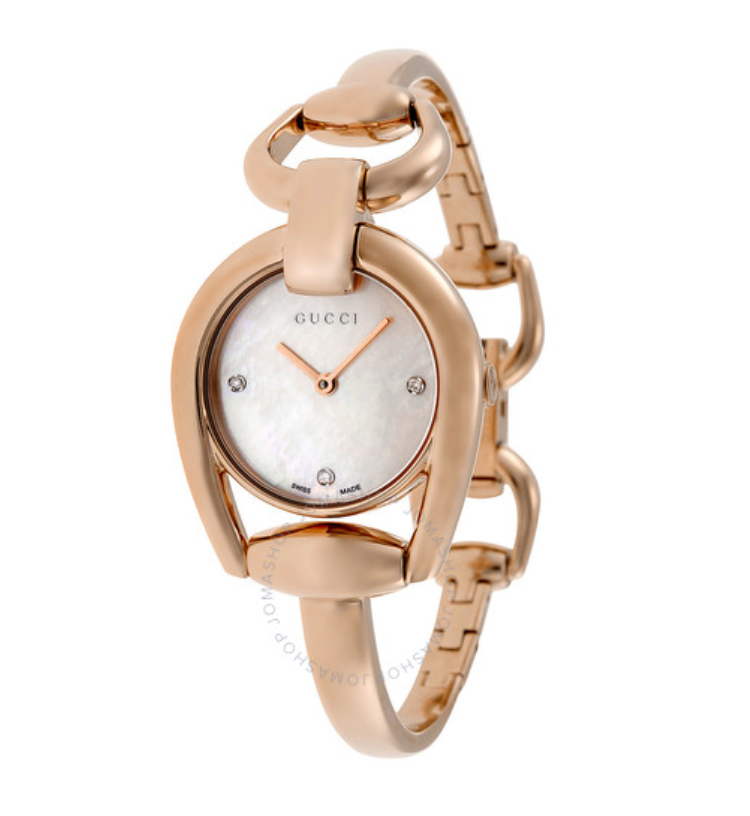 GUCCI Horsebit Mother of Pearl Dial Rose Gold PVD Watch YA139508