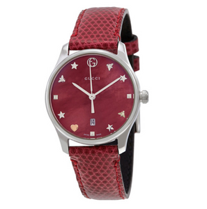 GUCCI G-Timeless Red Mother of Pearl Watch YA126584