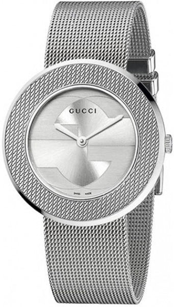 GUCCI U-Play Diamond Mother of Pearl Dial Stainless Steel Mesh Watch YA129517