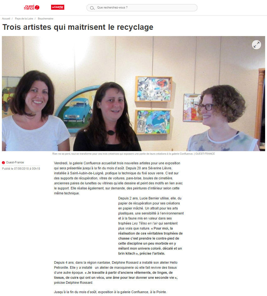 Article presse journal Ouest France créatrice artisanat recyclage Confluence Bouchemaine Hello Petronille