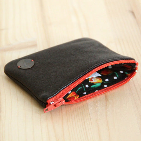 Black recycled leather wallet with orange zipper