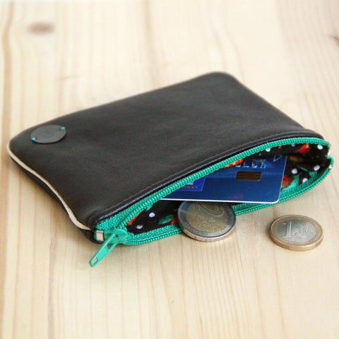 Recycled black leather medium Wallet with green zip