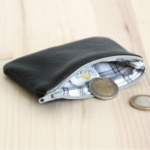 Men Black Leather Change Wallet with grey zipper