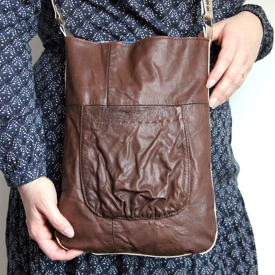 Tote bag en cuir recyclé marron