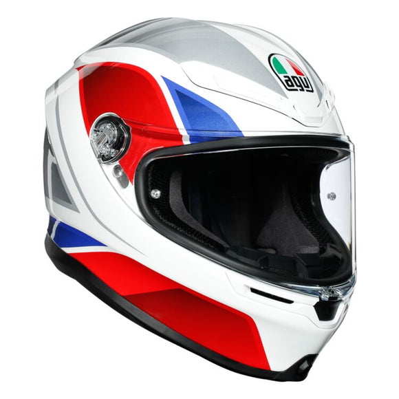 AGV K6 Hyphen Gloss White Red Blue Multi Full Face Helmet