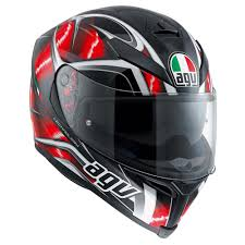 AGV K5 S HURRICANE HELMET Black Red White (Clear Visor)
