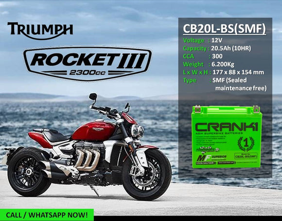 Crank1 CB20L-BS (SMF) Battery