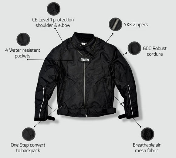 Motorcycle Riding Jacket - Hakkit Lite - Convertible to backpack - City
