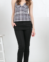 Plaid Cotton Flannel Empire Waist Cami Top