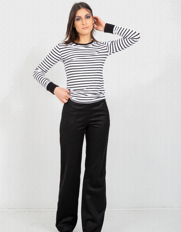 Slim Fit Parisian Striped Long Sleeve Tee