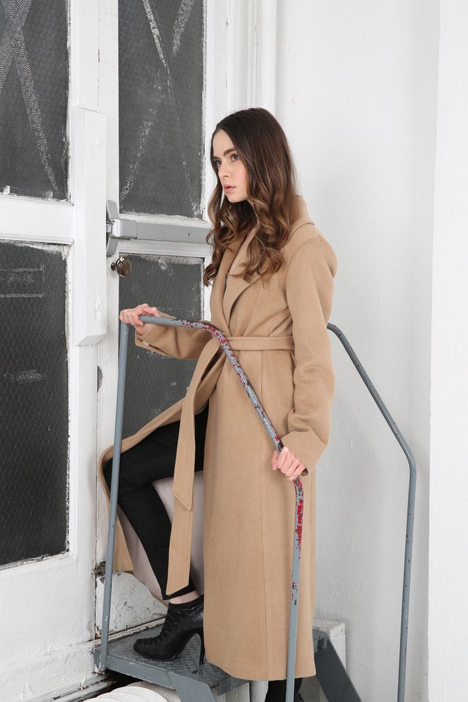 Cashmere Wool Belted Long Coat