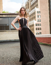 Sleeveless A Line Pleated Crepe Back Satin Gown