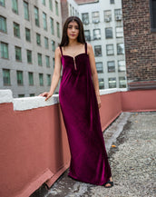 Chest Front Open Zipper Stretch Velvet Maxi Dress