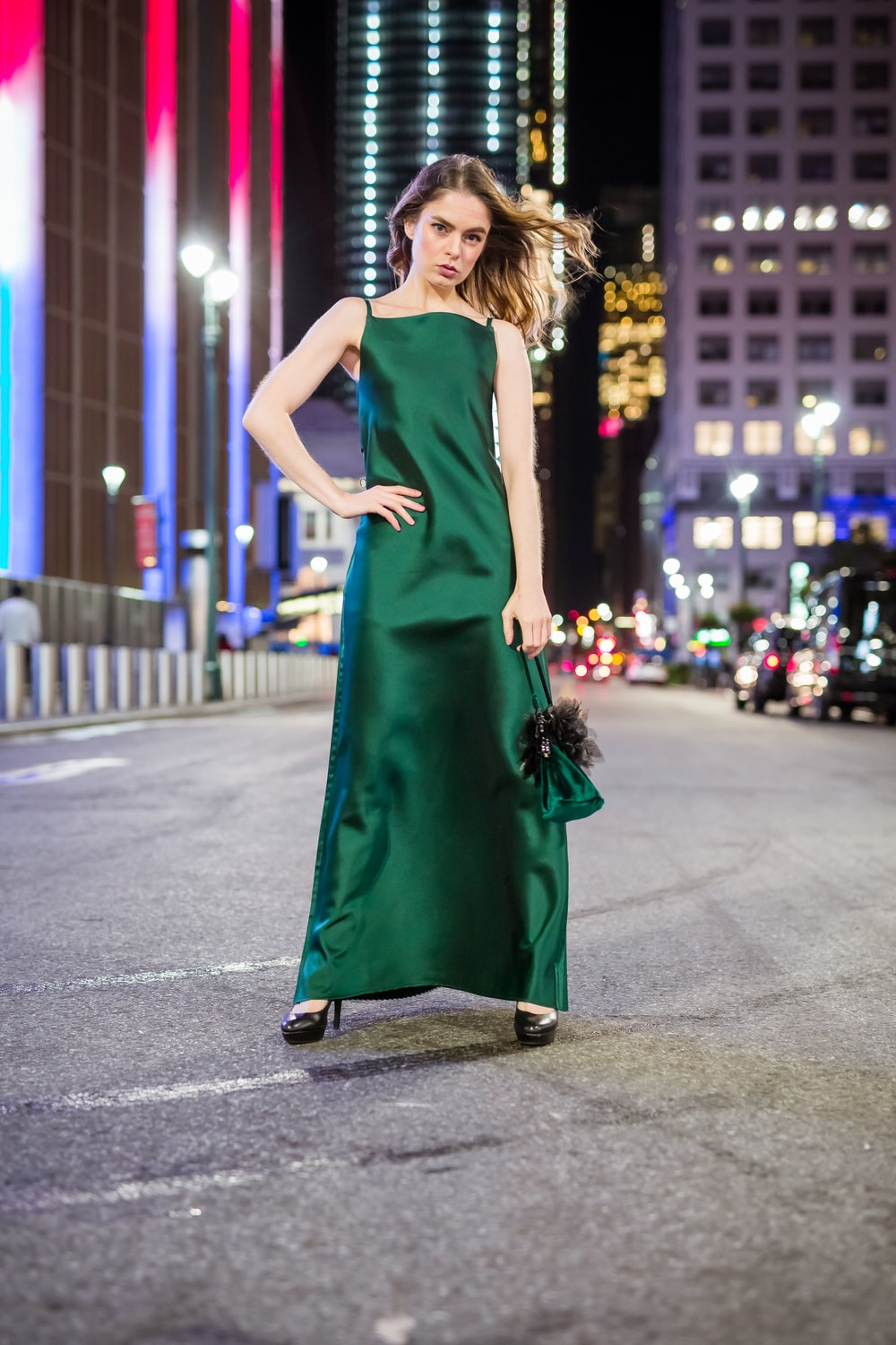 A Line Back Waist Pleated Satin Cami Maxi Gown