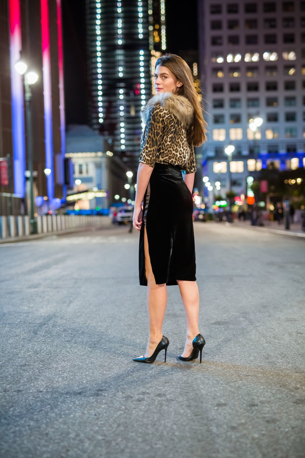 Velvet Tuxedo Pencil Skirt With Side Slit