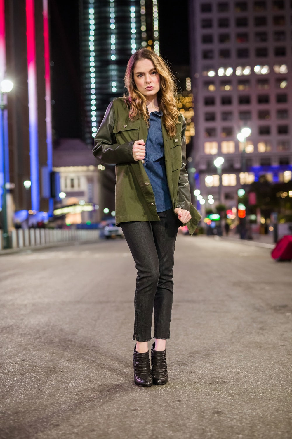 Military Jacket With Leather Top Sleeves