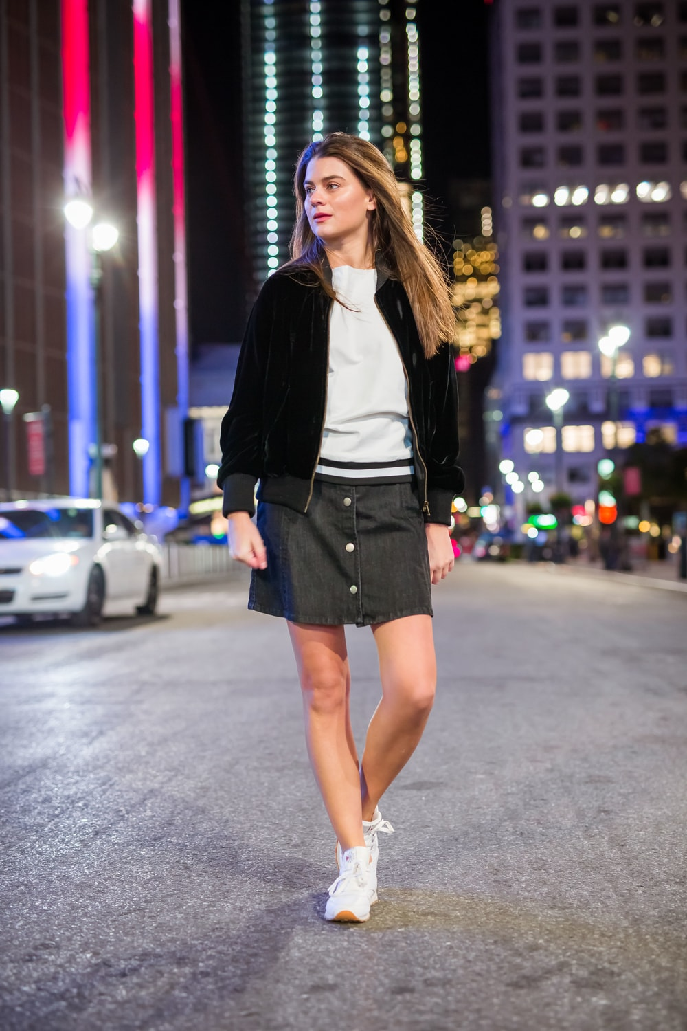 A Line Button Front Stretch Denim Mini Skirt