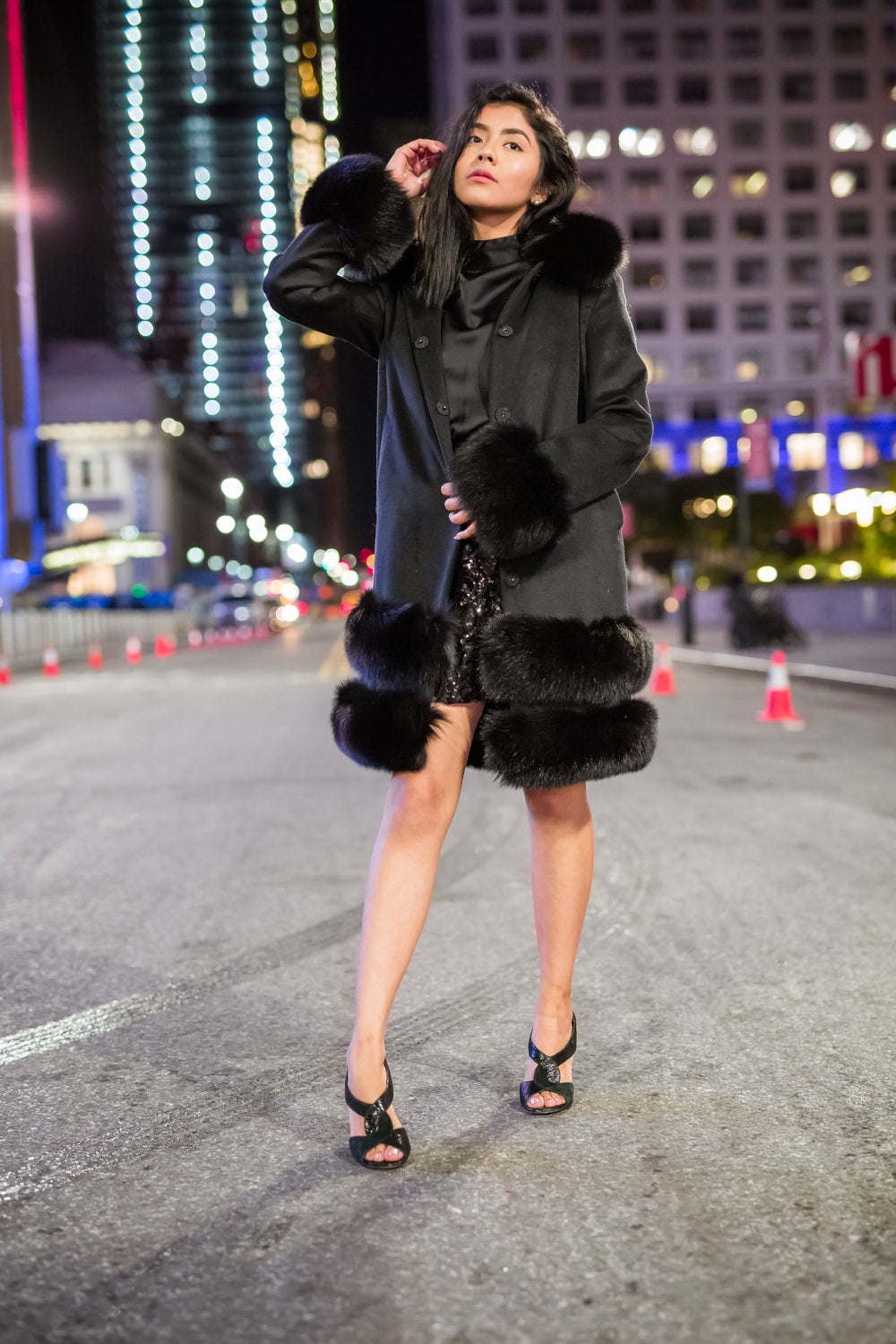 Wool Cashmere And Mink Fox Fur Coat