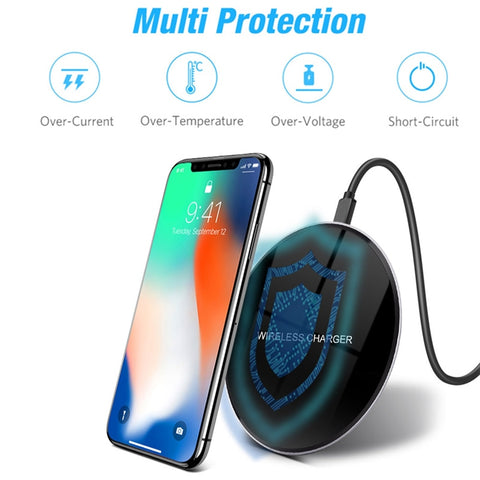 Ebony Wireless Disc Charger For Samsung Galaxy S9 S8 Plus Mirror Charging Pad Dock Cradle Charger USB For iPhone 8 X XS Max XR