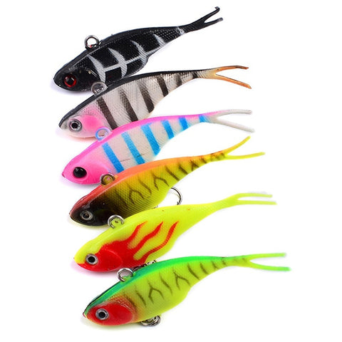 6 pcs Soft Lure bait with Fishing Hooks