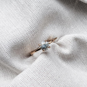 0.675 ct Pale Blue Aquamarine & Rose Gold Engagement Ring