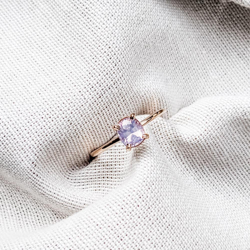 0.91 ct Pink Milky Spinel & Rose Gold Engagement Ring