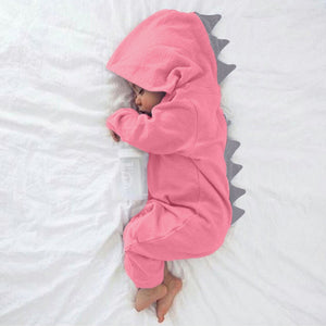 Dinosaur Hoodie Romper Zip Jumpsuit for boys and girls 0-18 months