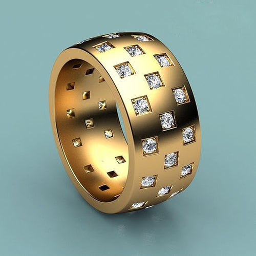 Men's Gold Zircon Ring