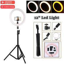 Load image into Gallery viewer, LED Ring Light on a Tripod with Smartphone Holder