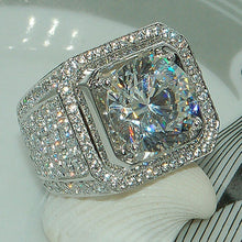 Load image into Gallery viewer, Men's Wedding Cubic Zirconia Silver Band Ring