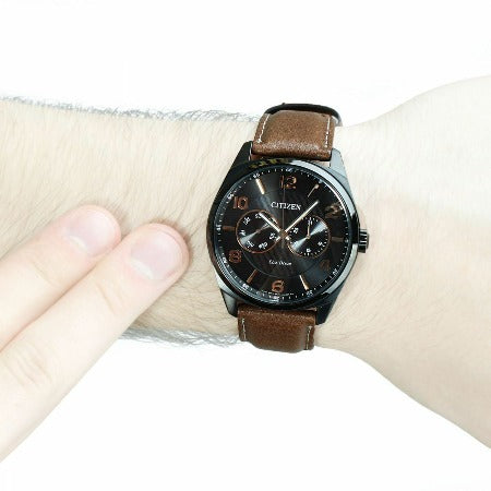 Citizen Eco Drive Black Dial Brown Leather Band Men's Watch AO9025-05E - luxfinejewellery