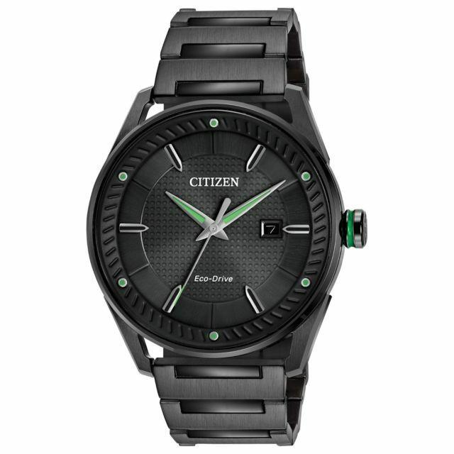 Citizen Men's Eco Drive Black Ion Plated Analog Dial Bracelet Watch BM6985-55E - luxfinejewellery