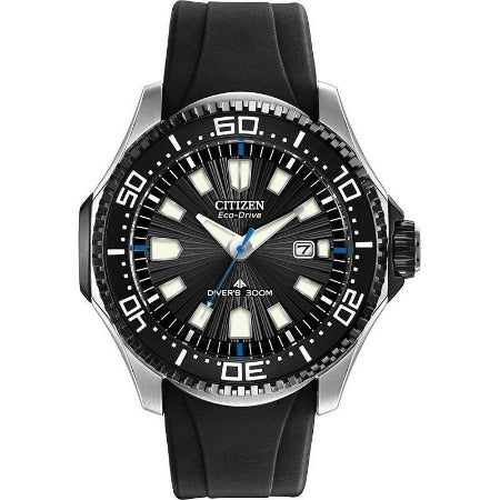Citzen Eco Drive Black Dial Silver Case Rubber Band Men's Watch BN0085-01E - luxfinejewellery