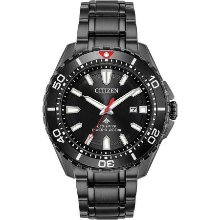 Citizen Promaster Diver Men's Eco Drive Black Stainless Steel Watch BN0195-54E - luxfinejewellery