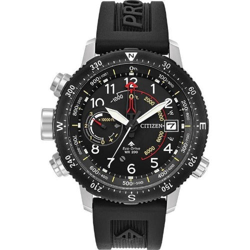 Citizen PROMASTER ALTICHRON Black Dial Rubber Band Men's Watch BN5058-07E - luxfinejewellery