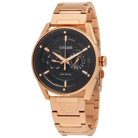 Citizen Eco Drive Rose Gold Link Band Black Dial Men's Watch BU4023-54E - luxfinejewellery