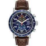 Citizen Brycen Men's Eco Drive Blue Dial Brown Leather Strap Watch CA0648-09L