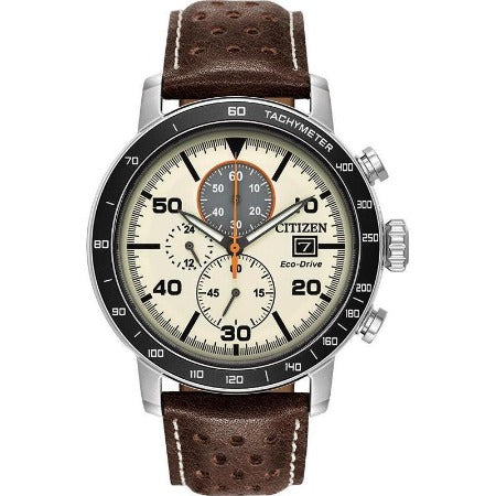 Citizen Brycen Men's Eco Drive Ivory Dial Brown Leather Strap Watch CA0649-06X - luxfinejewellery