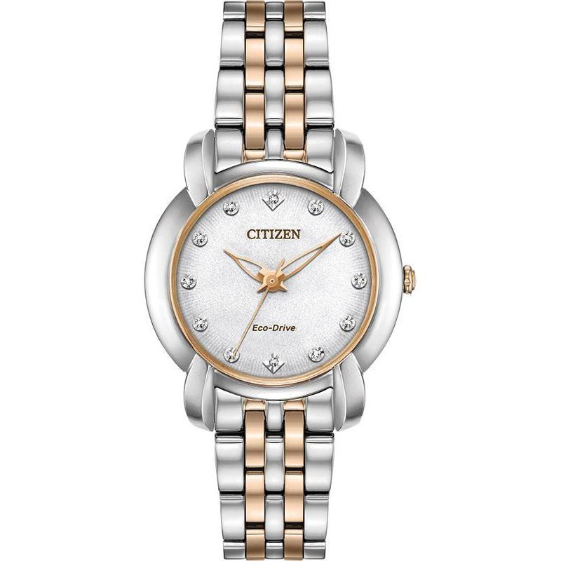 Citizen Jolie Women's Eco Drive Silver Rose Gold Stainless Steel Watch EM0716-58 - luxfinejewellery