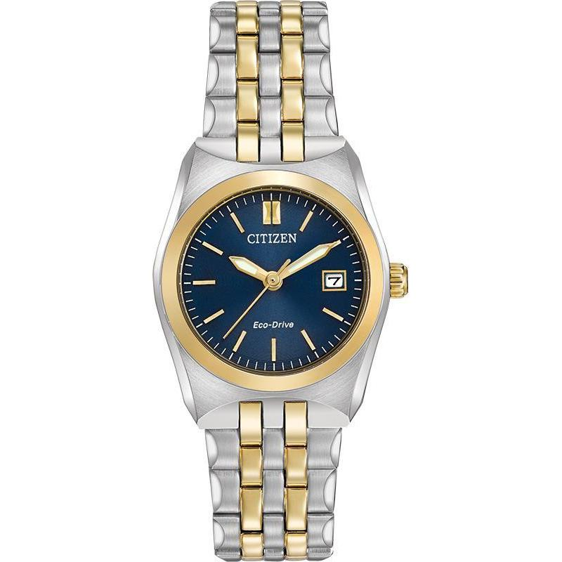 Citizen Corso Eco Drive Two Tone Blue Dial Stainless Steel Watch EW2294-53L - luxfinejewellery