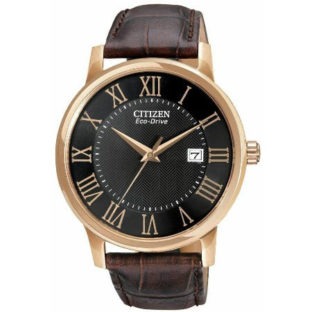New Citizen Eco Drive Black Dial Brown Leather Strap Men's Watch BM6759-03E - luxfinejewellery