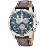New Citizen Eco Drive Brycen Chrono Leather Band Men's Titanium Watch BL5551-06L - luxfinejewellery