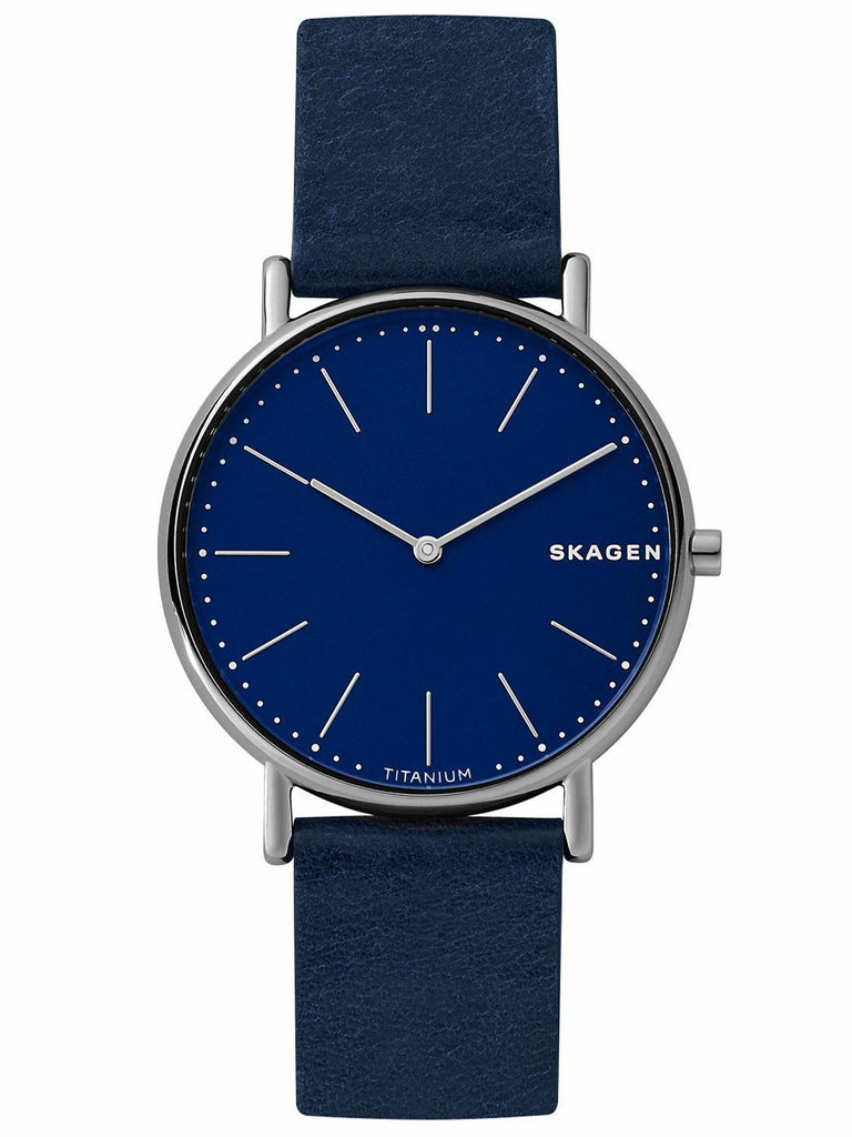 New Skagen Signatur Ultra Slim Blue Dial Leather Band Titanium Watch SKW6481 - luxfinejewellery